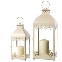 Allison Garden Land  Set of 2 Metal Lanterns - Cream